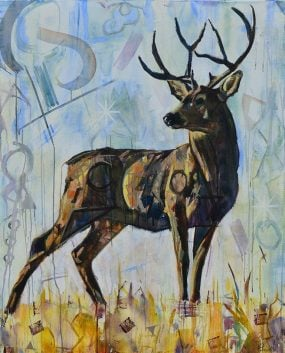 Deer Painting for sale of a buck with antlers in earth tones and light blue. Original abstract wildlife art with white-tailed deer looking sideways. Modern art of animals with geometric shapes titled The Antler Dimension by artist Kent Paulette.
