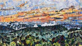 Painting of mountain landscape with a sunset titled Appalachia Rising