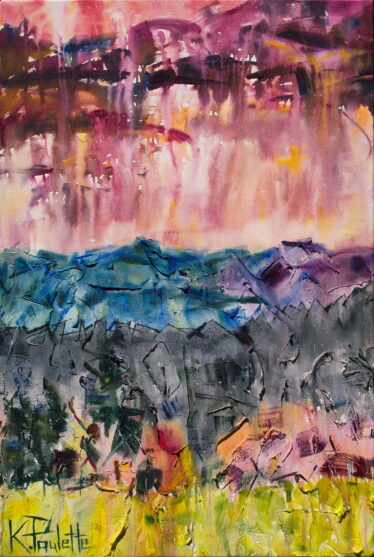 Appalachian Mountain wall art. This original modern abstract painting of nature during sunset is by artist K Paulette.