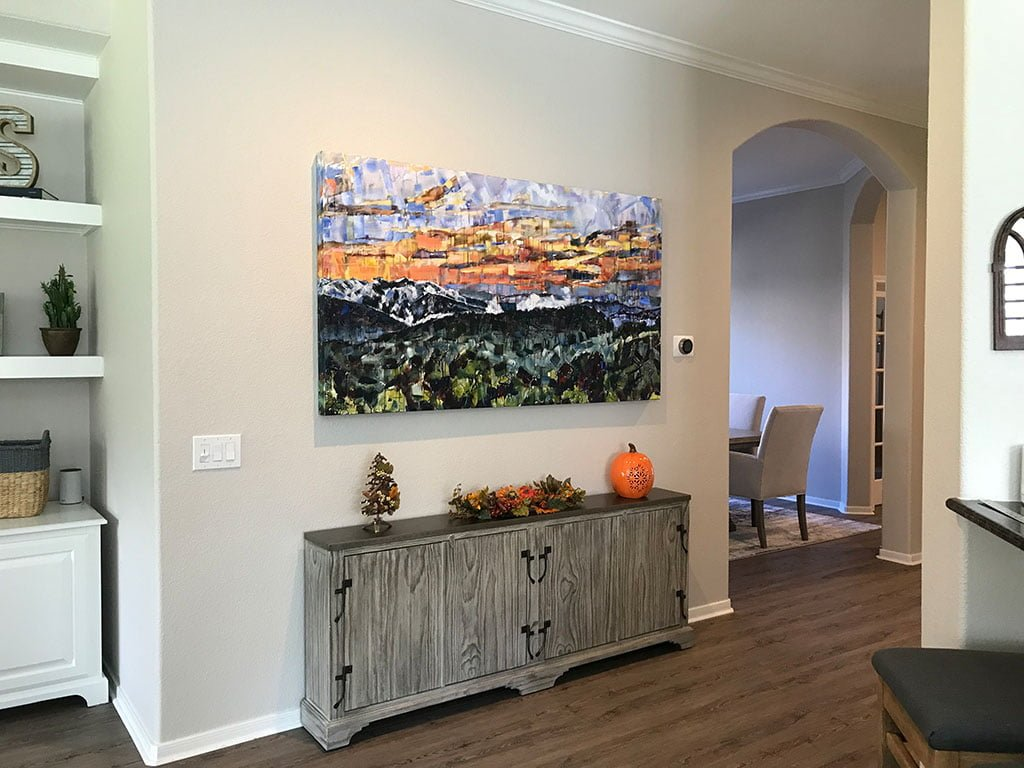 Appalachia Rising original painting hanging in the customer's home