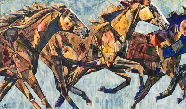 At the Speed of Love horse painting by artist Kent Paulette