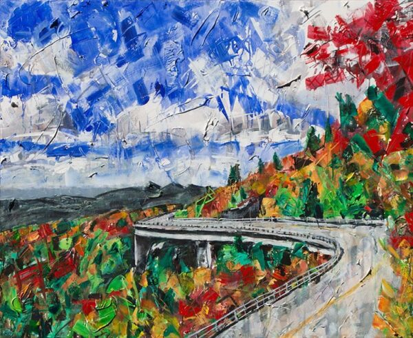 painting of blue ridge parkway linn cove viaduct