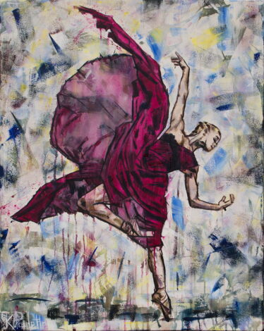 Ballerina painting of ballet dance art with movement and flowing dress that is magenta and pink by artist Kent Paulette. Original acrylic on canvas.