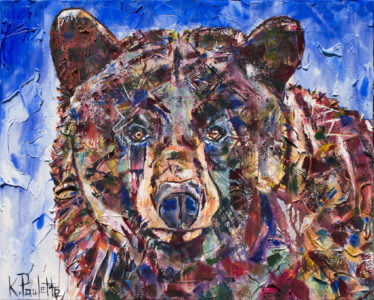Bear art on canvas. This original painting is contemporary. It is a black bear portrait with a blue background or sky.