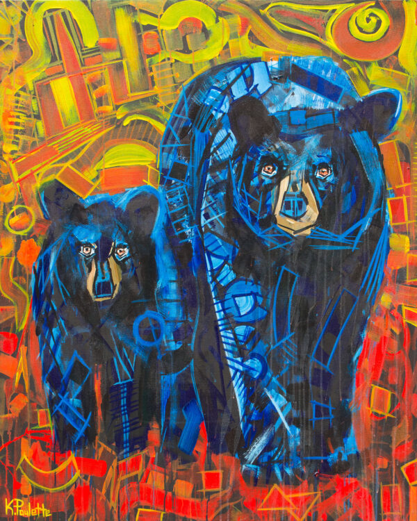 Bear cub and mama black bears painting by artist Kent Paulette. The bears are blue and the background is red and orange in this modern bear art with geometric shapes.