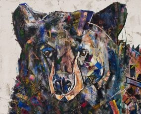 Bear Painting that is colorful and abstract with a white background