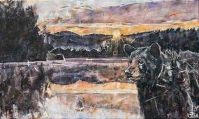 Painting of a black bear at Price Lake during sunrise on the Blue Ridge Parkway in the Appalachian mountains. The artwork is a peaceful landscape.