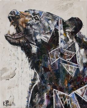 Painting of a bear roaring showing its growling teeth