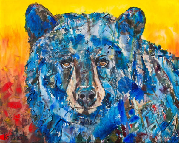 Bear painting is wildlife art that is colorful of an animal. The black bear is blue and the background is red, orange, and yellow.