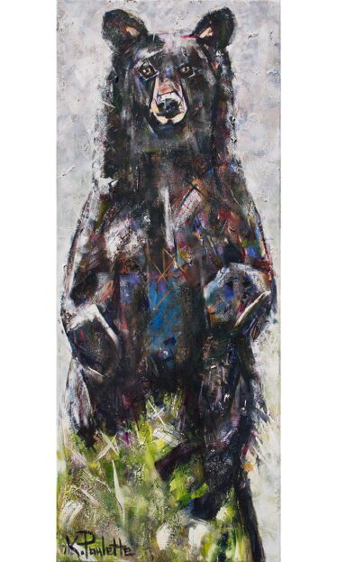 Painting of a bear standing up. Art by K Paulette