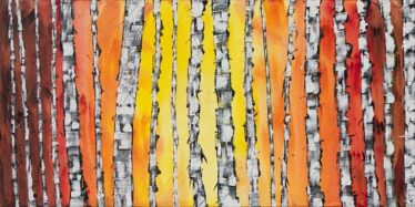 Painting of Birch Trees with sunset