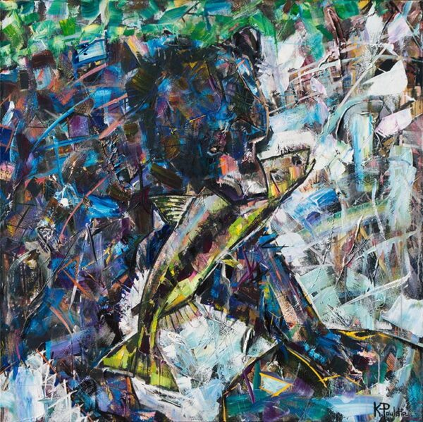 Abstract painting of a black bear catching a fish in the creek with movement and rushing water