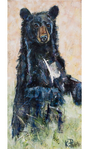 Painting of a black bear standing by artist Kent Paulette.
