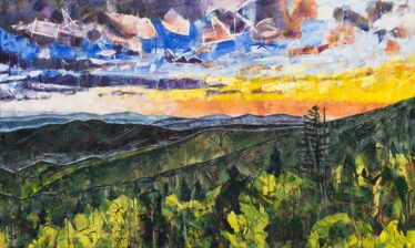 Painting of Blue Ridge Mountains with sunset or sunrise
