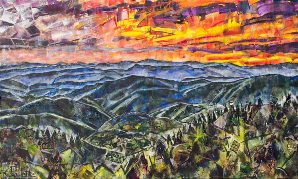 Blue Ridge Mountain painting. This colorful abstract art of the Appalachian Mountains has an orange sunset sky or sunrise with trees by artist Kent Paulette
