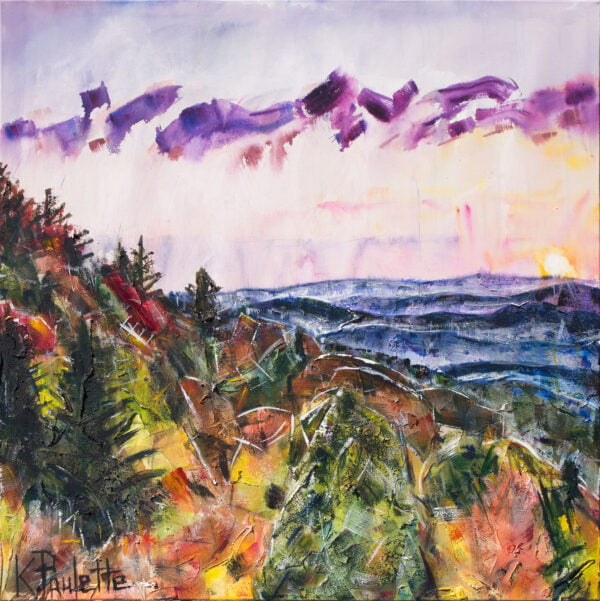 Blue Ridge Mountains painting on canvas during fall. The trees and leaves are colorful. The sky is calming.