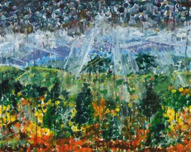 Blue Ridge Sunrays is a mountain landscape painting with sunlight shining through the clouds by artist Kent Paulette.