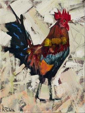 Rooster painting of chicken strut