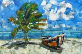 A Boat on the Beach is an ocean landscape painting with a green palm tree, sand, blue sky, and water by artist Kent Paulette.
