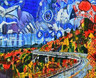 Blue Ridge Parkway at Linn Cove Viaduct is an abstract mountain landscape painting for sale with vibrant fall leaves and blue sky. Buy Grandfather Mountain and Appalachian nature in Colorful Geometric Shapes. Chroma Thrills modern art by Boone, NC artist Kent Paulette.