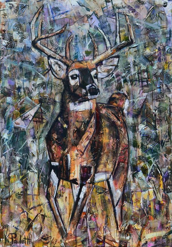 Deer buck painting with large antlers