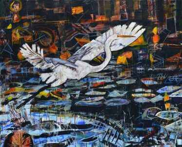 Great Egret painting for sale of a white bird taking off and flying over water. Conquest of the Irrational by contemporary wildlife artist Kent Paulette.