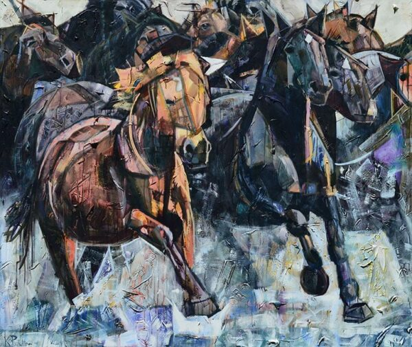 painting of a stampede of horses crossing a river