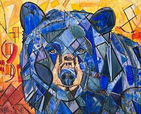 Blue Bear Painting for sale. The background is orange, red, & yellow fall leaves or a sunset. Original abstract wildlife artwork with colorful geometric shapes. The expressive animal painting is an adult black bear portrait. Dream Bear nature & modern art by Sorrento's Banner Elk artist Kent Paulette.