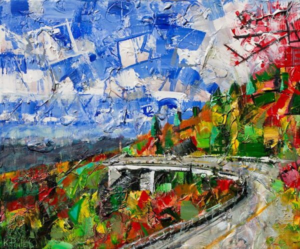 Painting of the Linn Cove Viaduct during Fall on the Blue Ridge Parkway in the Appalachian Mountains with a blue sky