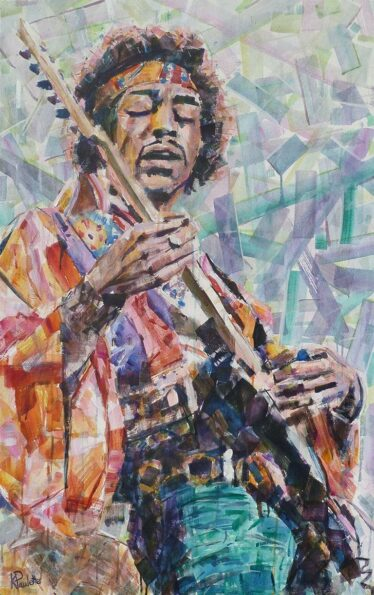Jimi Hendrix painting for sale. Musician playing guitar in this abstract art. The Pop Art celebrity portrait has colorful geometric shapes. The psychedelic rock pop icon was a hippie in the 60's Woodstock era. Buy modern art Electric Love by Kent Paulette.