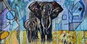 Elephant Painting with Tusks and cute Baby Elephant for sale. Abstract wildlife art of two African Elephants with yellow grass and blue purple sky. The style of this colorful nature painting is Whimsical geometric shapes by artist Kent Paulette.