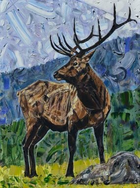 Elk painting of a deer buck with large antlers for sale. This contemporary wildlife painting of an Elk Bull is green, brown, and blue with thick palette knife Impasto texture. The original art is in an Expressionism style and the wapiti or Cervidae animal is looking sideways to the left. The Elk Majestic by artist Kent Paulette.