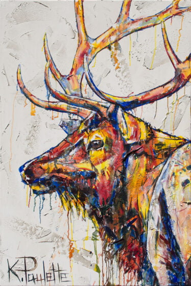 Elk painting that is colorful. This wildlife art on canvas was painted by Kent Paulette. This modern animal art is colorful.