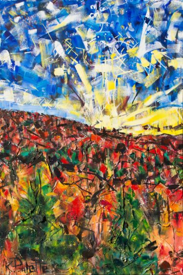 Fall landscape painting of mountains. This abstract art depicts trees with colorful leaves during autumn. The sky is blue and is during sunrise. Modern art by Kent Paulette..