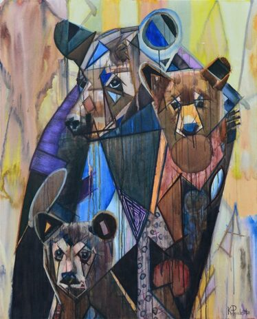 Bear Painting of mama bear and her two bear cubs for sale. Abstract wildlife art with earth tones, blue, brown, & yellow. Original Modern Art with colorful geometric shapes. Family Time wild animals in nature by Banner Elk bear artist Kent Paulette.