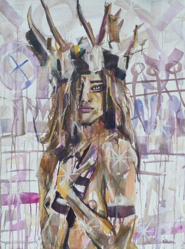 For the Wild woman portrait figure painting with antler crown