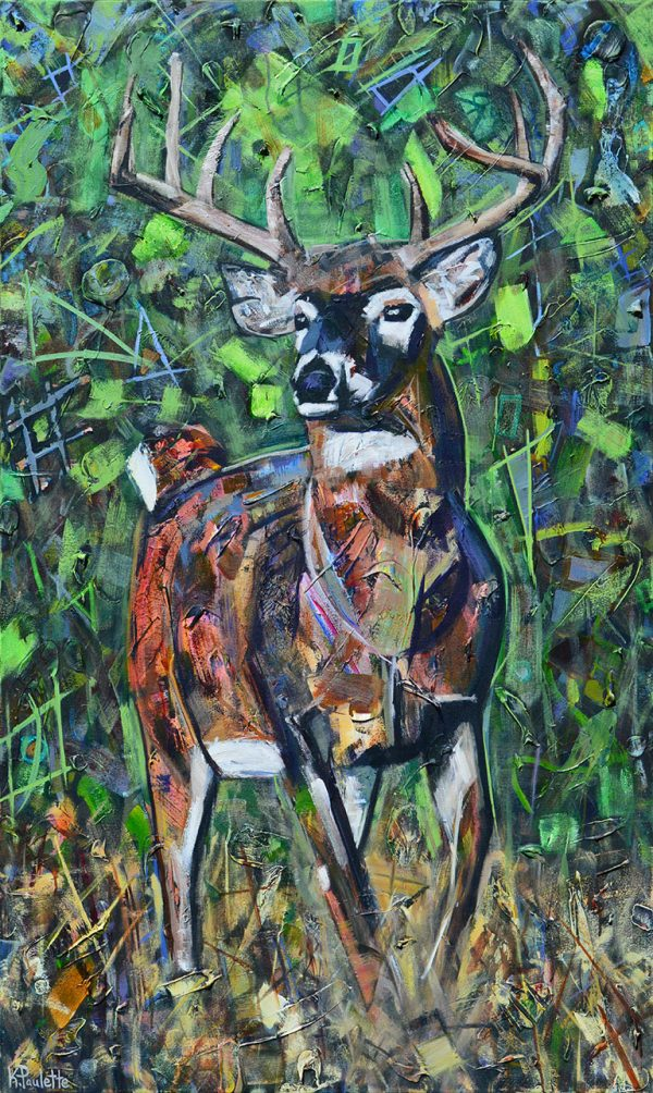 painting of large deer buck with antlers