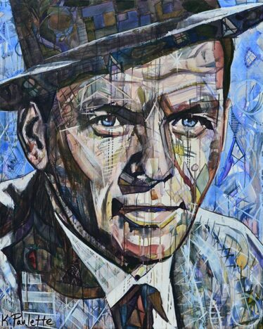 Frank Sinatra painting portrait for sale. It is abstract art and acrylic on canvas. This original painting of Frank Sinatra has colorful geometric shapes. Pop Art of the celebrity musician Ol' Blue Eyes by artist Kent Paulette. His face is earth tones and the background is blue. In this Frank Sinatra portrait, he is smiling, wearing a hat, and has a tie on.