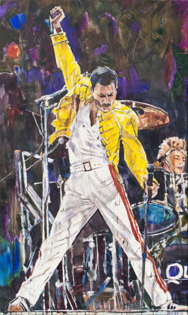 Freddie Mercury painting of the band Queen's lead singer of Bohemian Rhapsody. He is wearing white pants and a yellow jacket. Art by K. Paulette