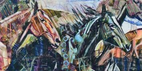 Horse Painting for sale of wild horses running sideways. Abstract animal art on canvas is in earth tones with orange and teal. Galloping mustangs with movement and Cubism geometric shapes. Free Like the Wind modern equestrian art by artist Kent Paulette.