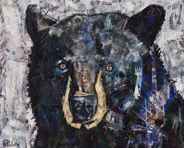 Black Bear painting titled Galaxy Bear by Banner Elk, NC artist Kent Paulette
