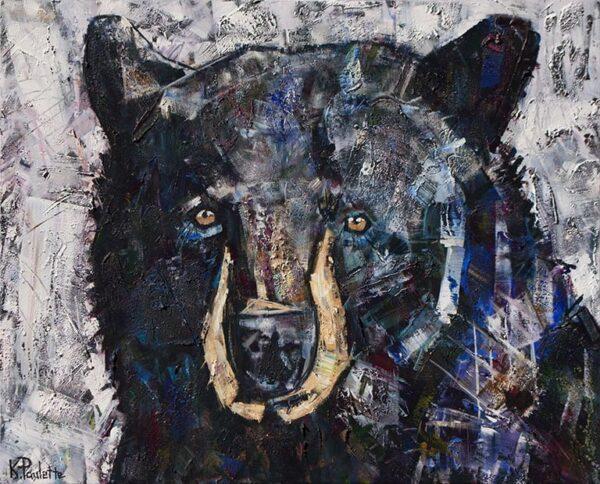 Black Bear painting titled Galaxy Bear by Banner Elk, NC artist Kent Paulette