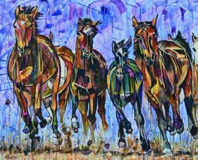 Galloping Horses Painting for sale of six brown and black wild horses running forward. Buy this abstract equestrian art in earth tones with pops of color and a blue purple sky background. A stampede of horse mustangs kicking up dirt with movement and colorful geometric shapes in a dramatic stained glass style. Galloping Sunlight modern animal painting by artist Kent Paulette.