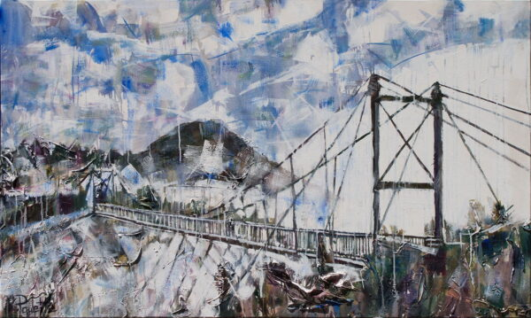 Grandfather Mountain painting of Mile High Swinging Bridge. This original acrylic landscape art of Appalachian Blue Ridge Mountains with fog, clouds, blue sky, and trees by artist Kent Paulette.