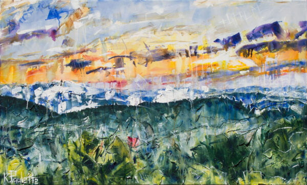 Great Smoky Mountains painting on canvas. Abstract art and contemporary landscape of a sunrise with fog in nature.