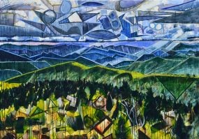 Blue Ridge Mountains landscape painting for sale. Buy this abstract nature art with green hills, trees, and blue sky. View of the Appalachian Mountains from the Blue Ridge Parkway with movement and colorful geometric shapes in a dramatic stained glass style. My Heart is a Blue Ridge Mountain by Boone, NC artist Kent Paulette.