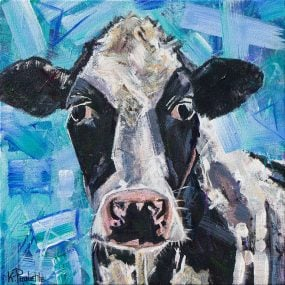 Holstein Cow painting, moo cow black and white with blue sky