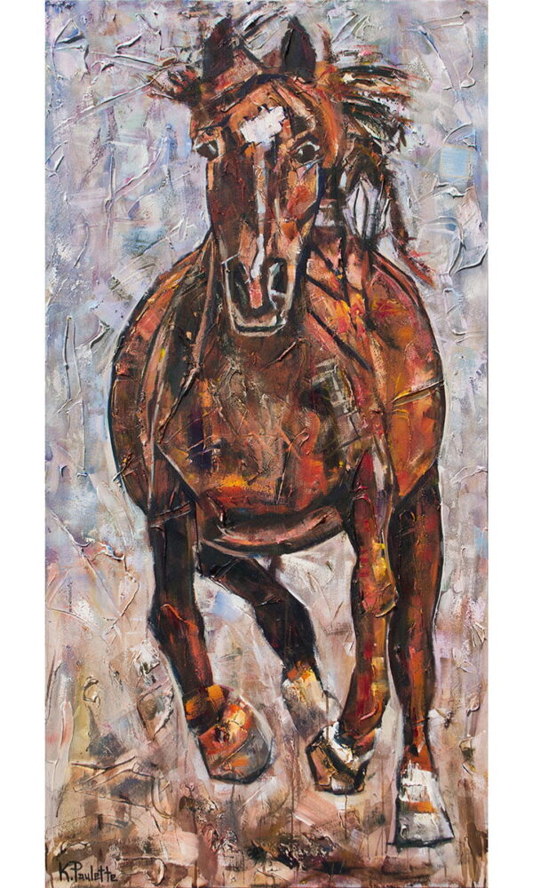 horse art on canvas for sale. acrylic painting of a brown horse that is galloping.