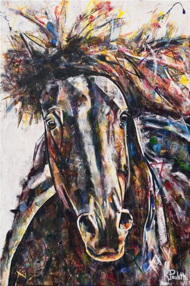 Horse painting of a wild mustang. This fine art is colorful and abstract with thick texture. This horse portrait is by artist Kent Paulette