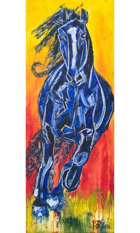 Horse Painting of a wild horse running. The artwork is colorful and abstract. The horse is blue and the background is red, orange, and yellow like a sunset or sunrise.